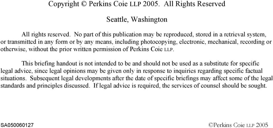 without the prior written permission of Perkins Coie LLP.