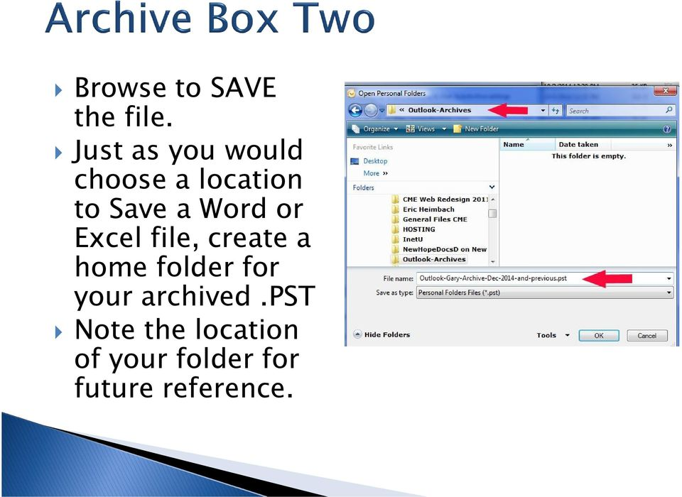 Word or Excel file, create a home folder for