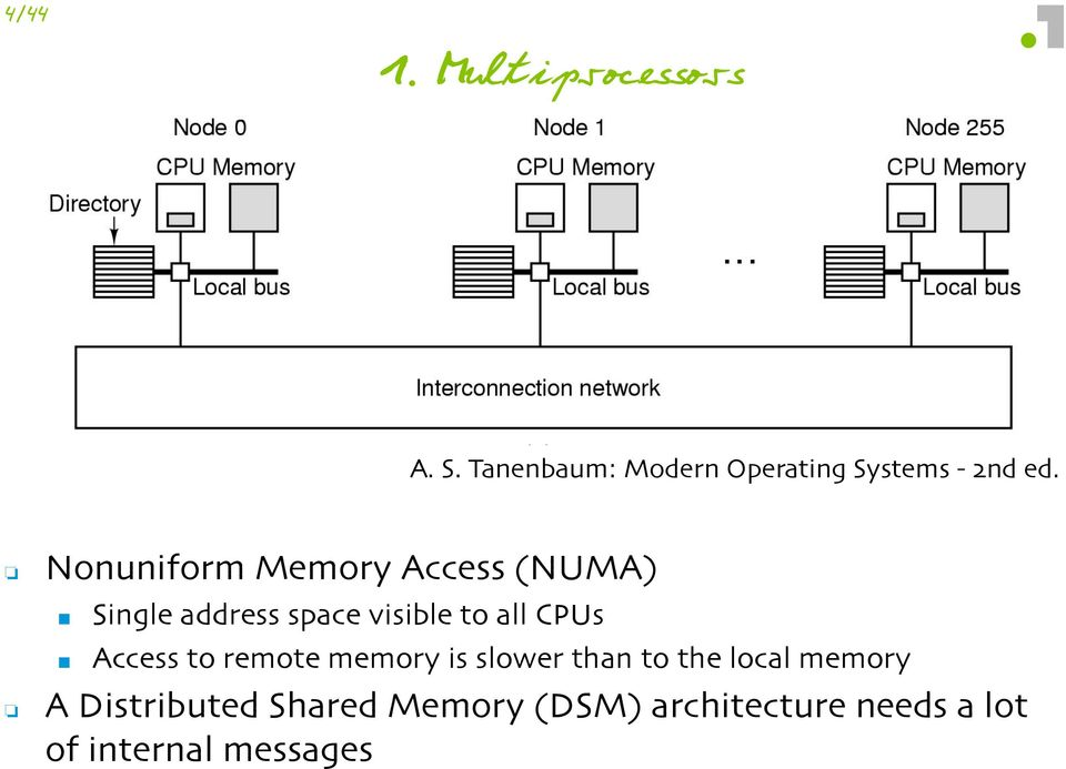 Access to remote memory is slower than to the local memory A Distributed Shared