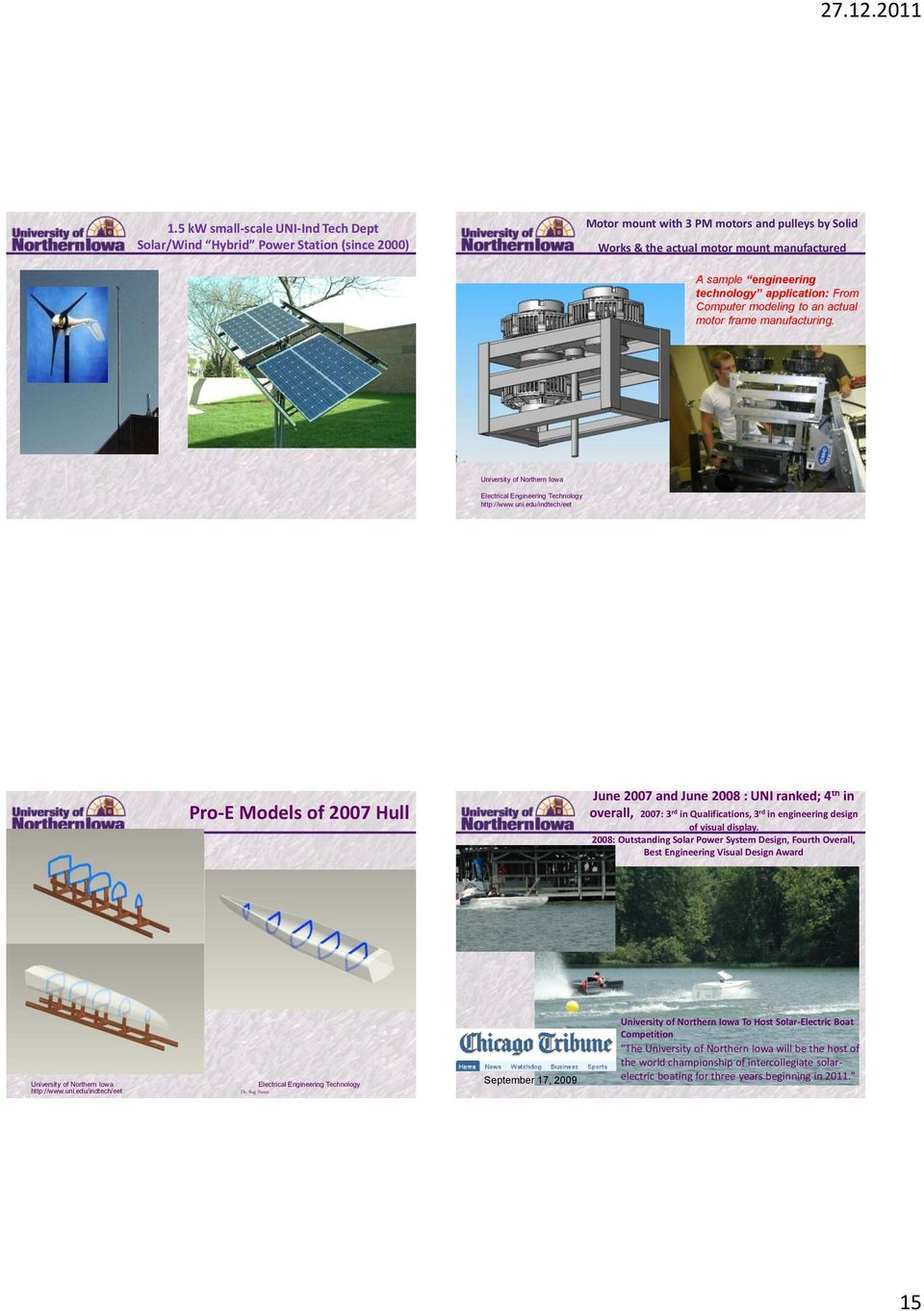 Pro-E Models of 2007 Hull June 2007 and June 2008 : UNI ranked; 4 th in overall, 2007: 3 rd in Qualifications, 3 rd in engineering design of visual display.