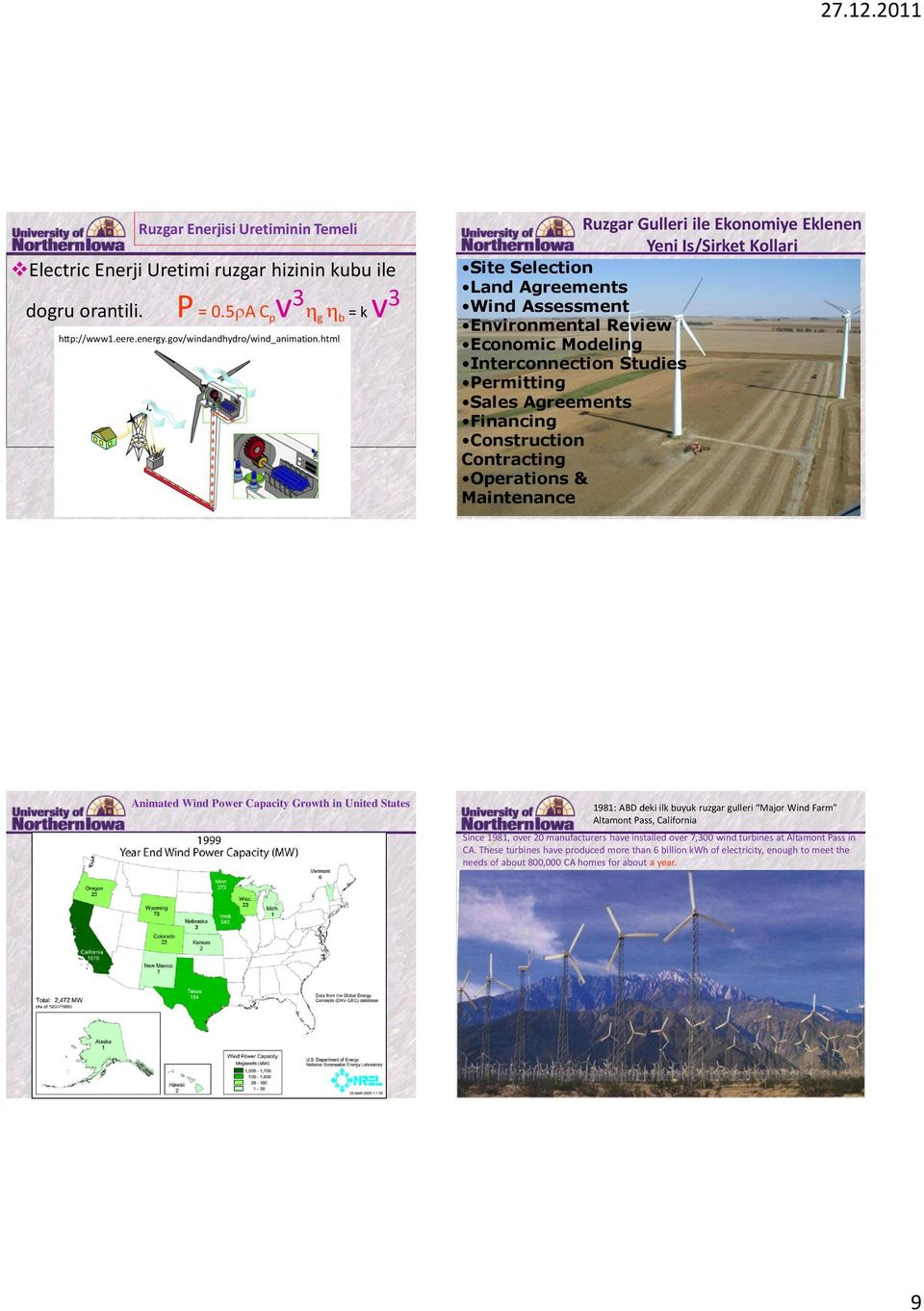Agreements Financing Construction Contracting Operations & Maintenance Animated Wind Power Capacity Growth in United States 1981: ABD deki ilk buyuk ruzgar gulleri Major Wind Farm Altamont Pass,