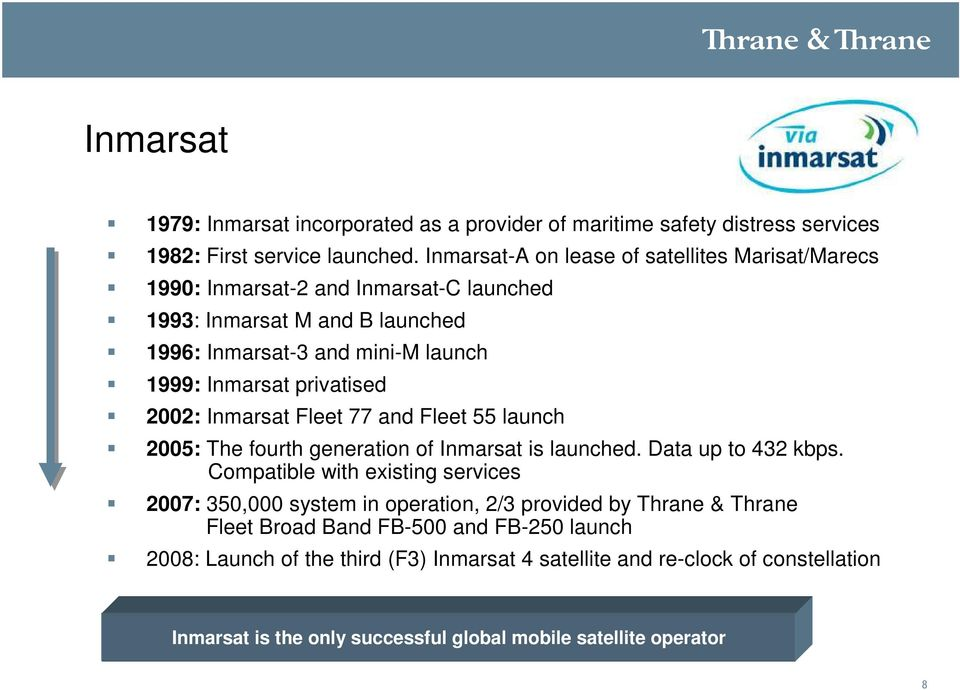 privatised 2002: Inmarsat Fleet 77 and Fleet 55 launch 2005: The fourth generation of Inmarsat is launched. Data up to 432 kbps.