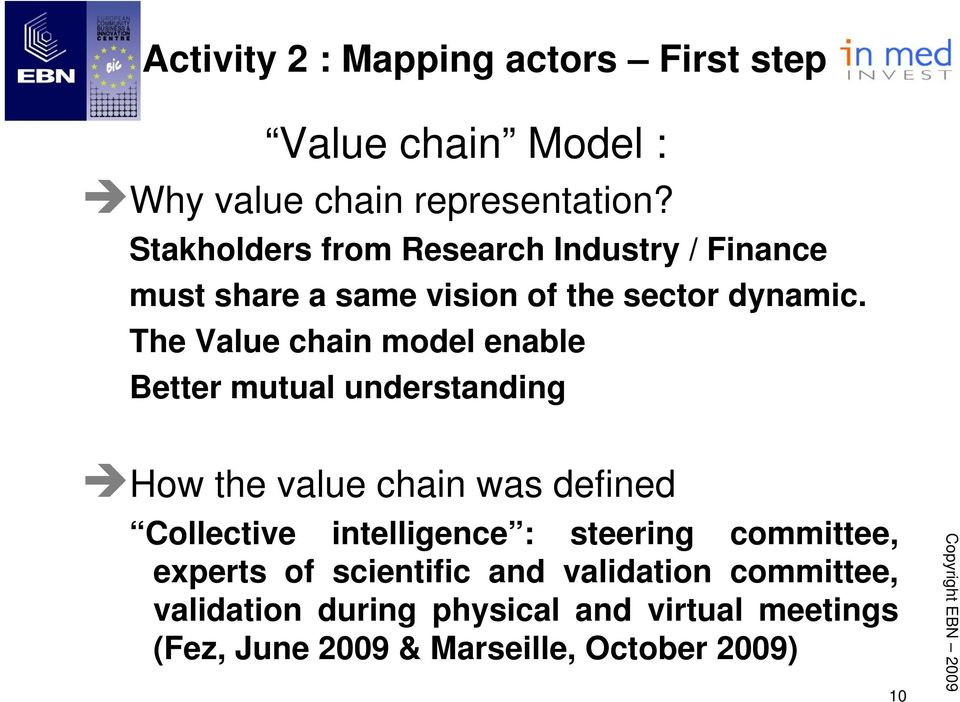 The Value chain model enable Better mutual understanding How the value chain was defined Collective intelligence :