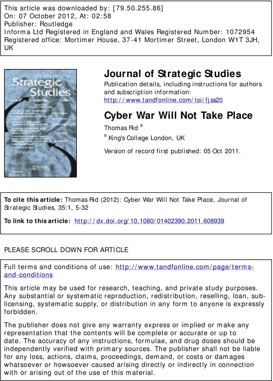 3JH, UK Journal of Strategic Studies Publication details, including instructions for authors and subscription information: http://www.tandfonline.