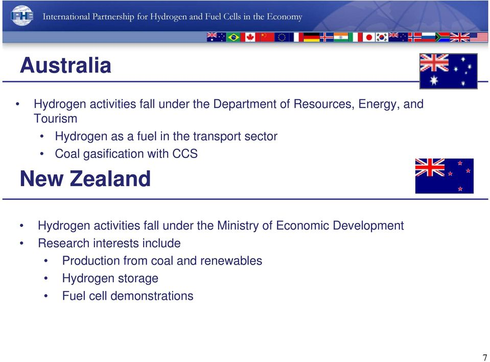 Zealand Hydrogen activities fall under the Ministry of Economic Development Research