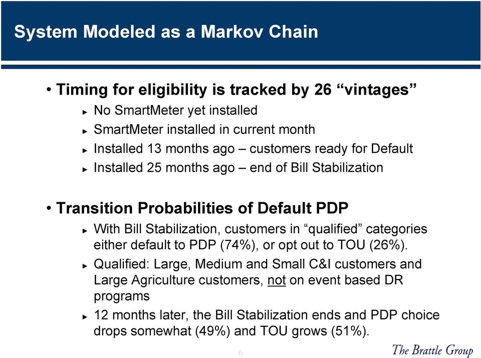 Stabilization, customers in qualified categories either default to PDP (74%), or opt out to TOU (26%).