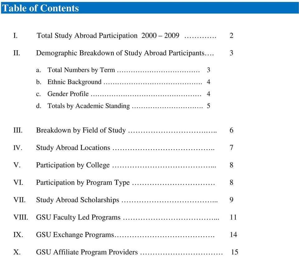 Breakdown by Field of Study... 6 IV. Study Abroad Locations.. 7 V. Participation by College... 8 VI.