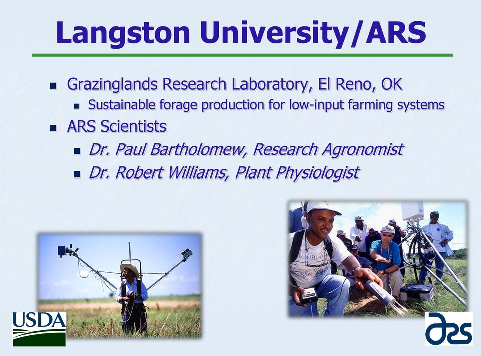farming systems ARS Scientists Dr.