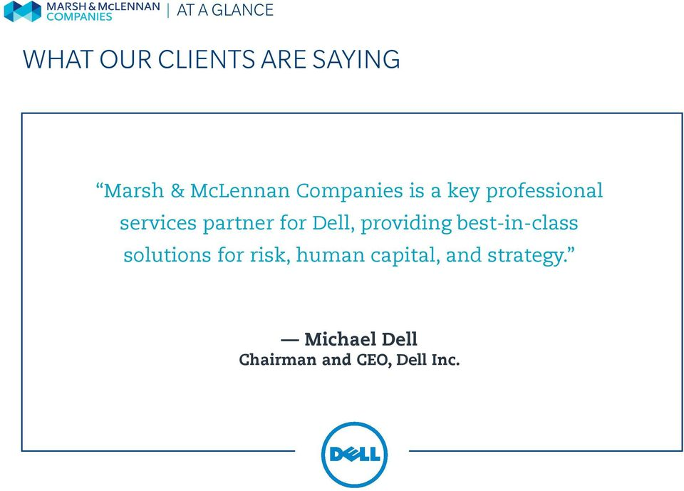 Dell, providing best-in-class solutions for risk, human