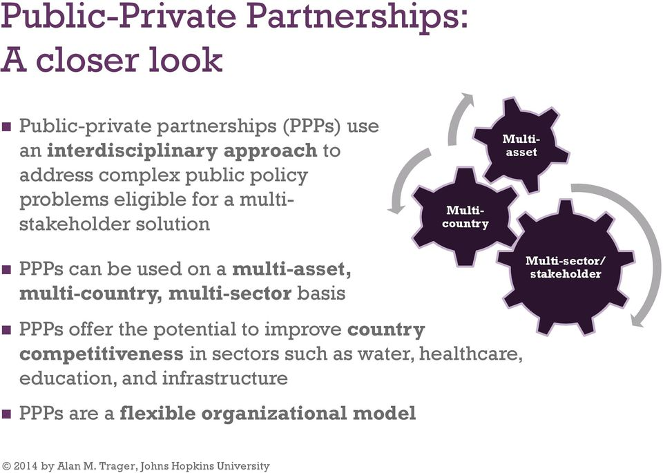 multi-country, multi-sector basis Multicountry Multiasset Multi-sector/ stakeholder PPPs offer the potential to improve