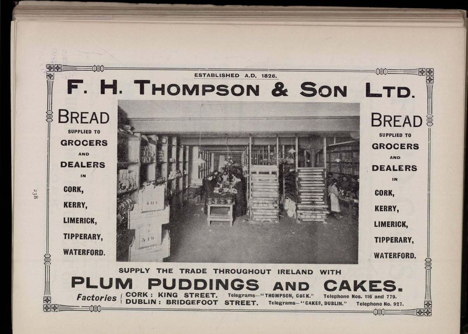BREAD SUPPLIED TO GROCERS AND DEALERS IN CORK, KERRY, LIMERICK, TIPPERARY, WATERFORD.