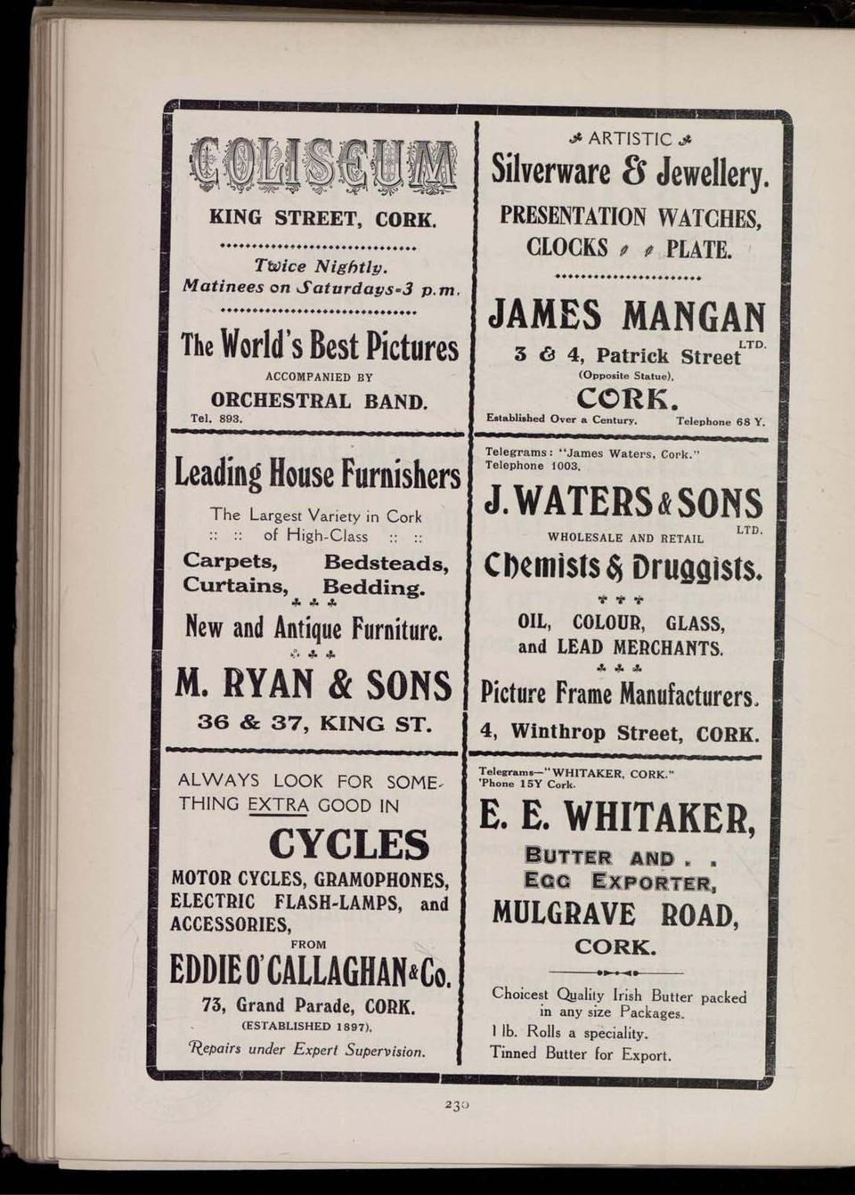 "PRESENTATION WATCHES, CLOCKS / # PLATE. JAMES MANGAN 3 6 4, Patrick Street (Opposite Statue), CORK. Established Over a Century. Telephone 68 Y. Telegrams : ""James Waters, "" Telephone 1003. J. WATERS «SONS LTD WHOLESALE AND RETAIL Cl)ciiiisls Druggists."