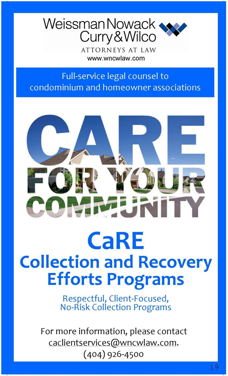 associations CaRE Collection and Recovery Efforts Programs
