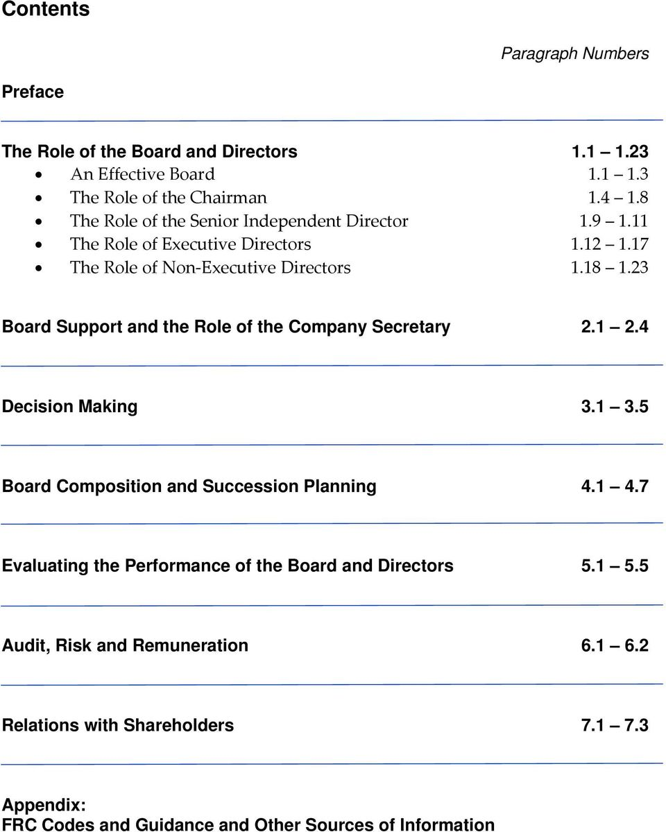 23 Board Support and the Role of the Company Secretary 2.1 2.4 Decision Making 3.1 3.5 Board Composition and Succession Planning 4.1 4.