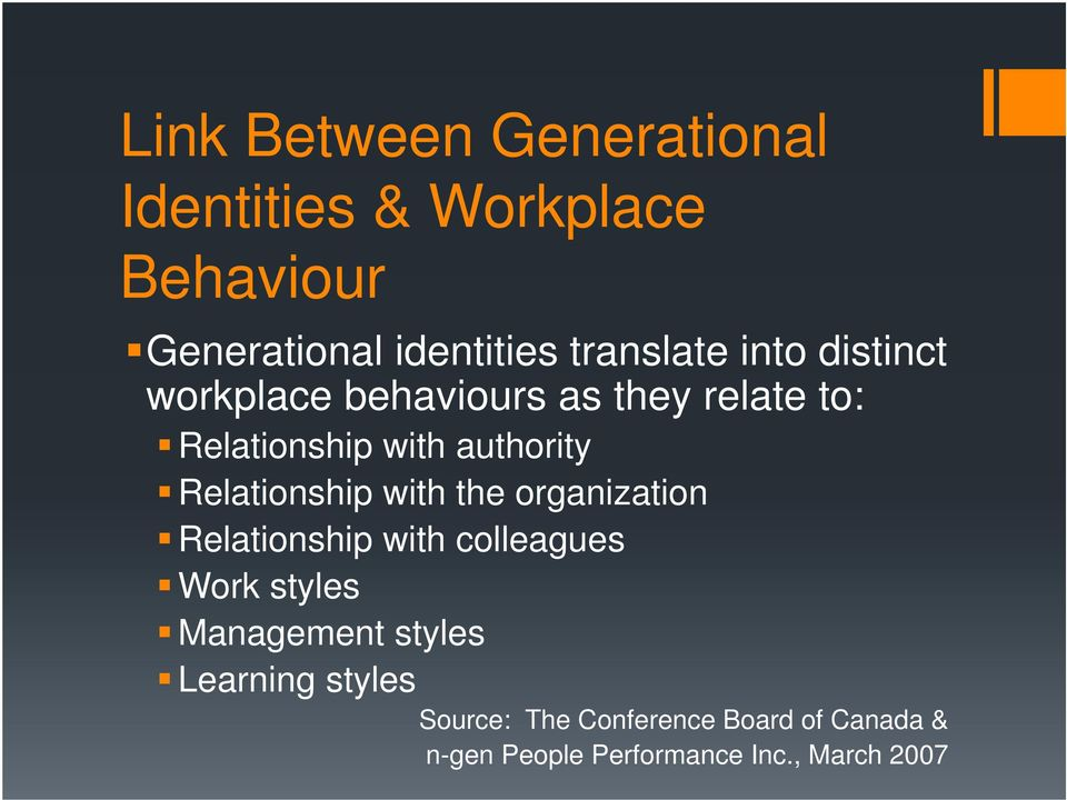 Relationship with the organization Relationship with colleagues Work styles Management