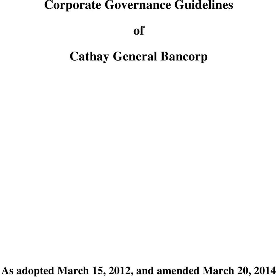 General Bancorp As adopted