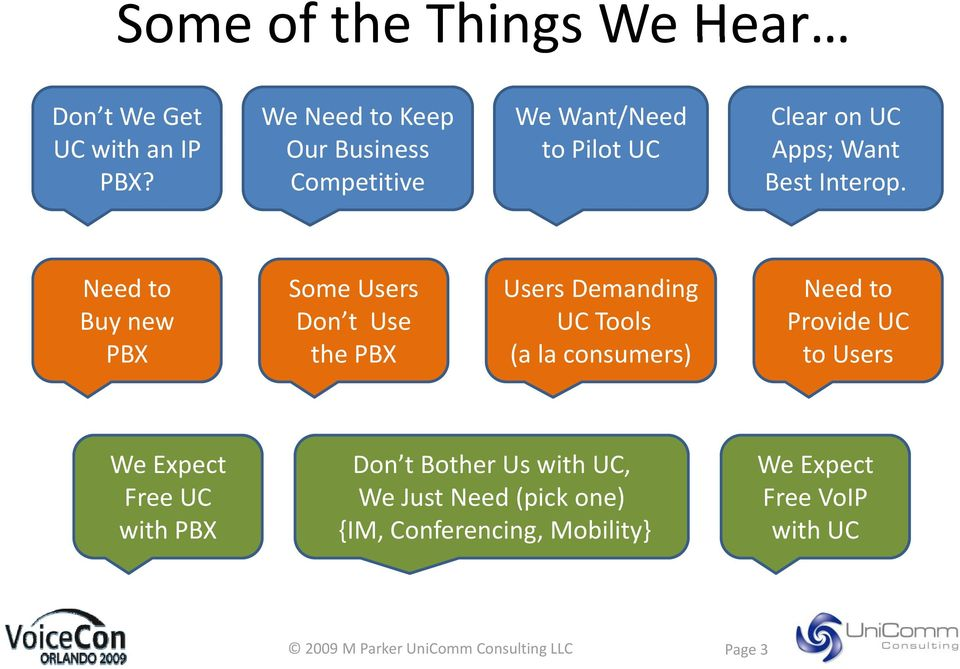 Need to Some Users Users Demanding Need to Buy new Don t Use UC Tools Provide UC PBX the PBX (a la