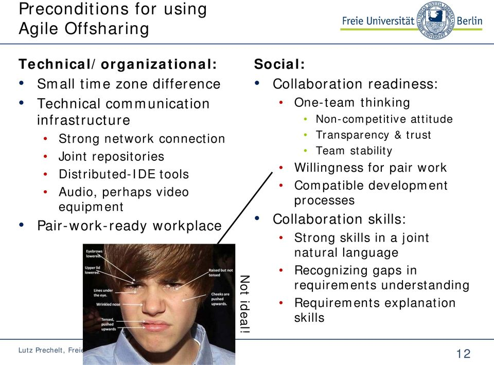 Social: Collaboration readiness: One-team thinking Non-competitive attitude Transparency & trust Team stability Willingness for pair work