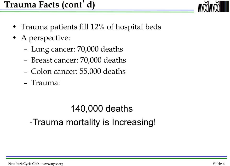 deaths Colon cancer: 55,000 deaths Trauma: 140,000 deaths