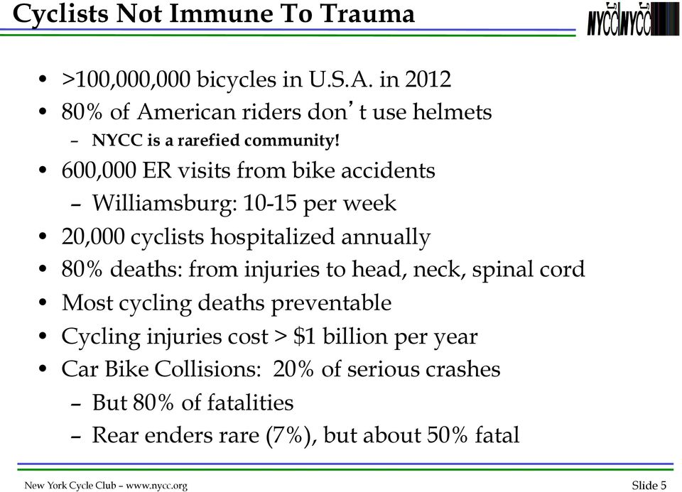 600,000 ER visits from bike accidents Williamsburg: 10-15 per week 20,000 cyclists hospitalized annually 80% deaths: from injuries