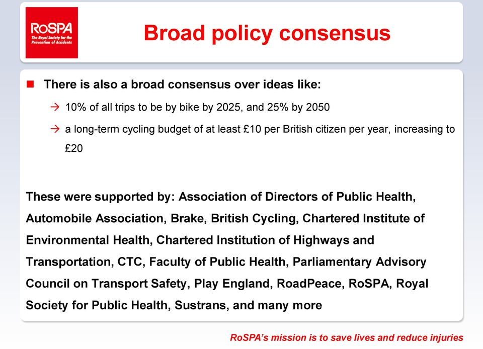 Association, Brake, British Cycling, Chartered Institute of Environmental Health, Chartered Institution of Highways and Transportation, CTC, Faculty