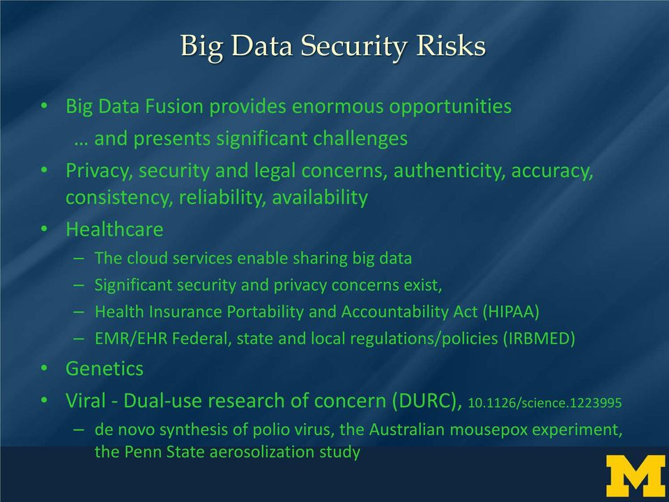 concerns exist, Health Insurance Portability and Accountability Act (HIPAA) EMR/EHR Federal, state and local regulations/policies (IRBMED) Genetics Viral