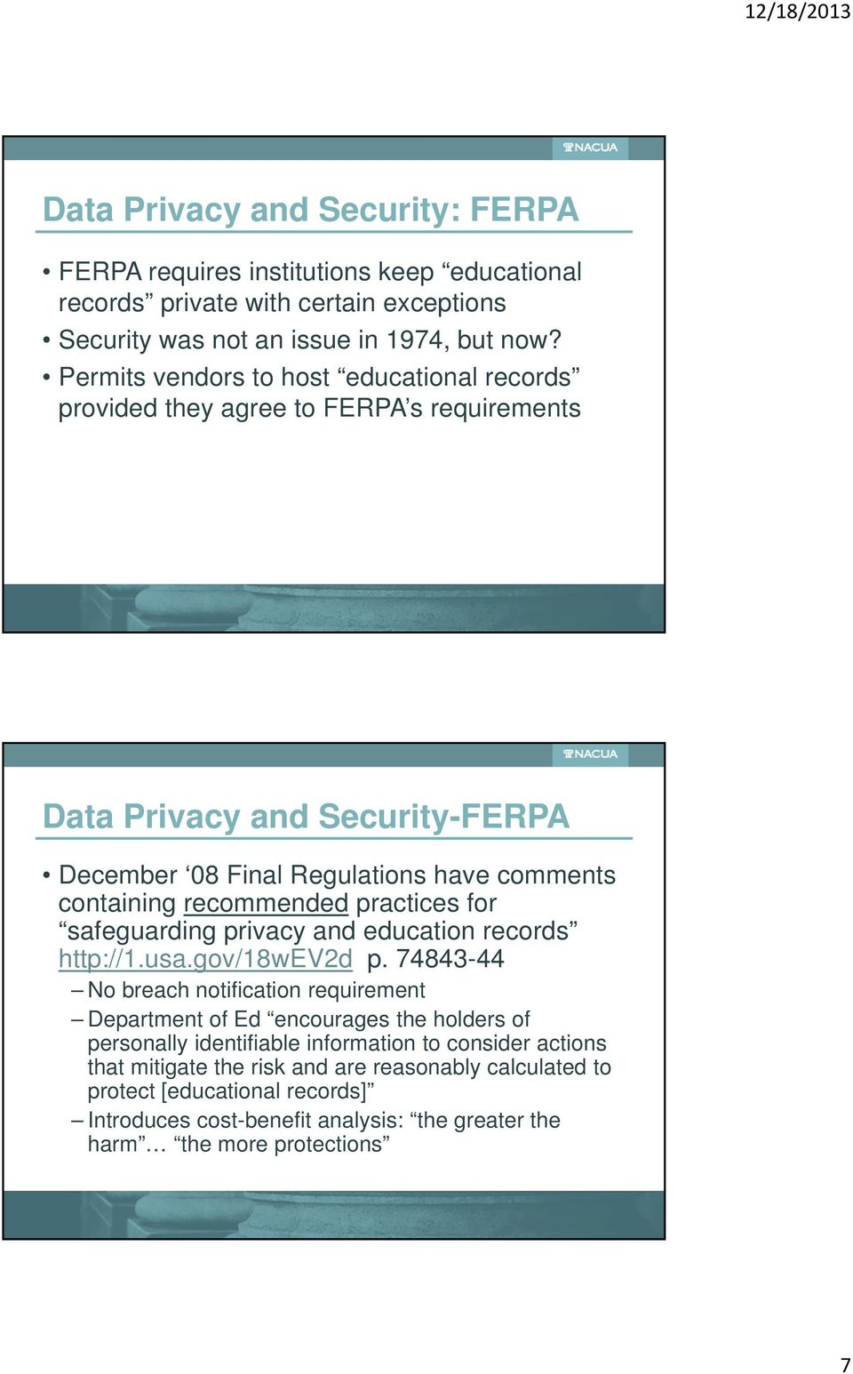 recommended practices for safeguarding privacy and education records http://1.usa.gov/18wev2d p.