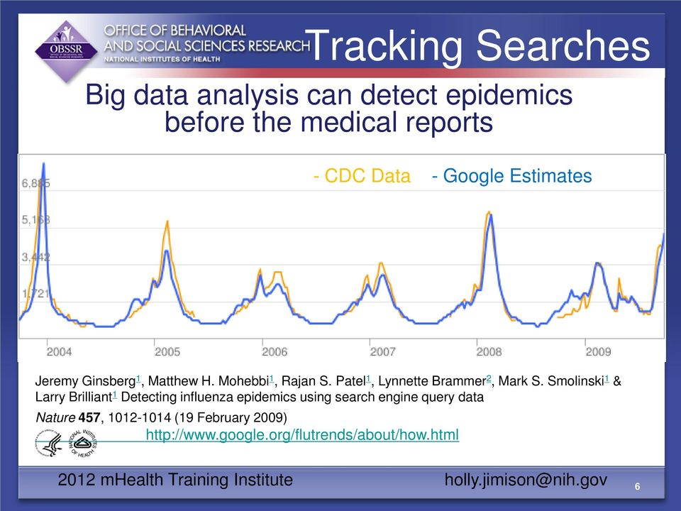 Smolinski 1 & Larry Brilliant 1 Detecting influenza epidemics using search engine query data Nature 457,