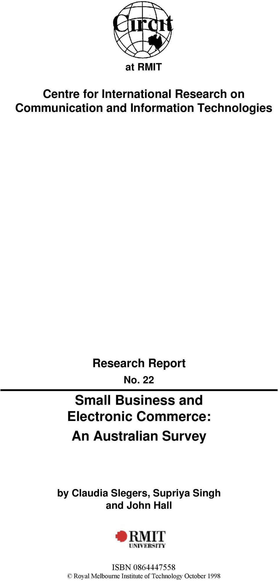 22 Small Business and Electronic Commerce: An Australian Survey by