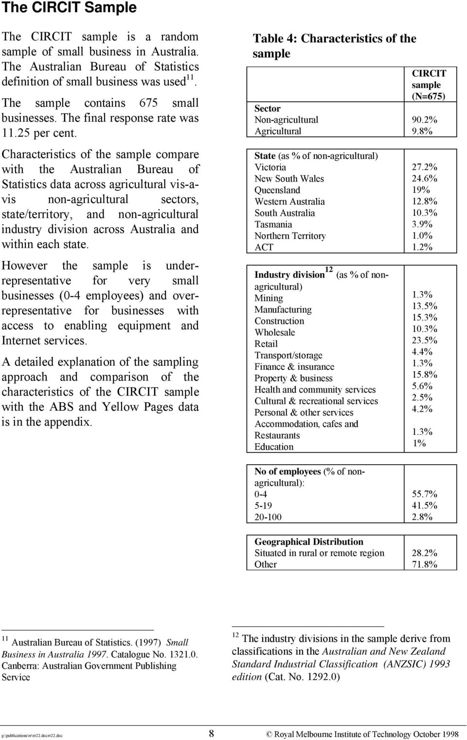 Characteristics of the sample compare with the Australian Bureau of Statistics data across agricultural vis-avis non-agricultural sectors, state/territory, and non-agricultural industry division