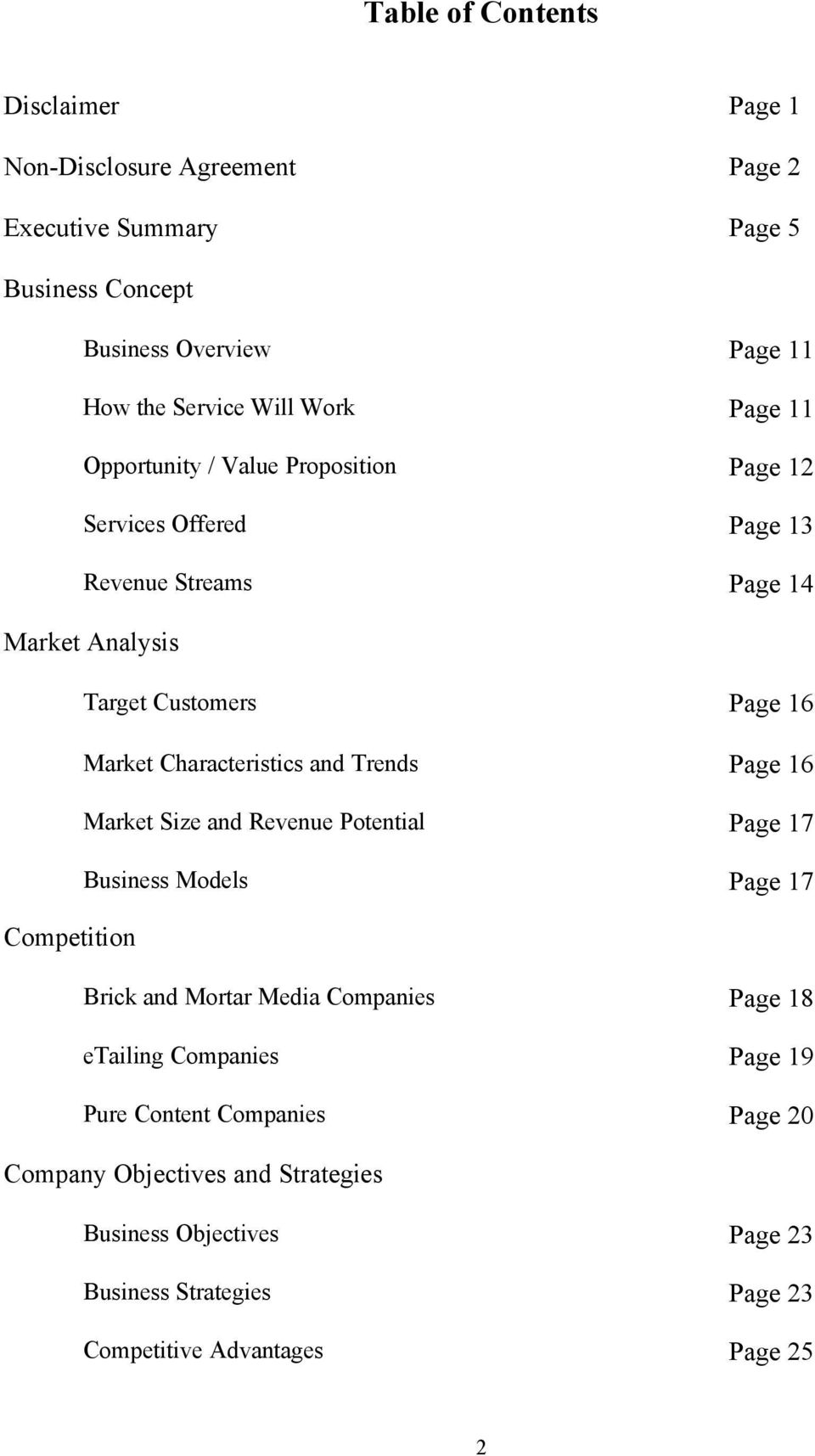 Characteristics and Trends Page 16 Market Size and Revenue Potential Page 17 Business Models Page 17 Competition Brick and Mortar Media Companies Page 18