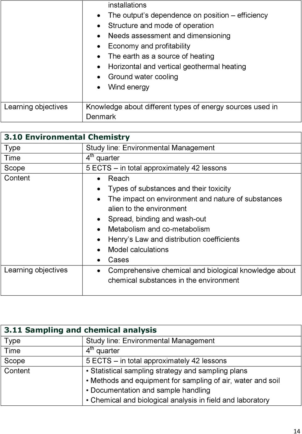 10 Environmental Chemistry Study line: Environmental Management Time 4 th quarter Scope 5 ECTS in total approximately 42 lessons Content Reach s of substances and their toxicity The impact on
