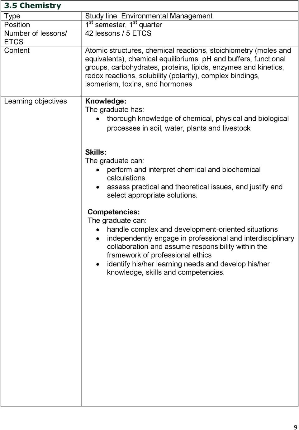 bindings, isomerism, toxins, and hormones Knowledge: The graduate has: thorough knowledge of chemical, physical and biological processes in soil, water, plants and livestock Skills: perform and