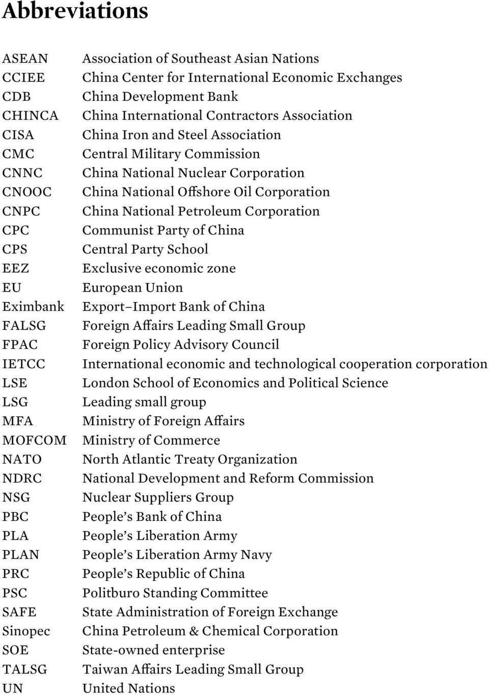 Commission China National Nuclear Corporation China National Offshore Oil Corporation China National Petroleum Corporation Communist Party of China Central Party School Exclusive economic zone