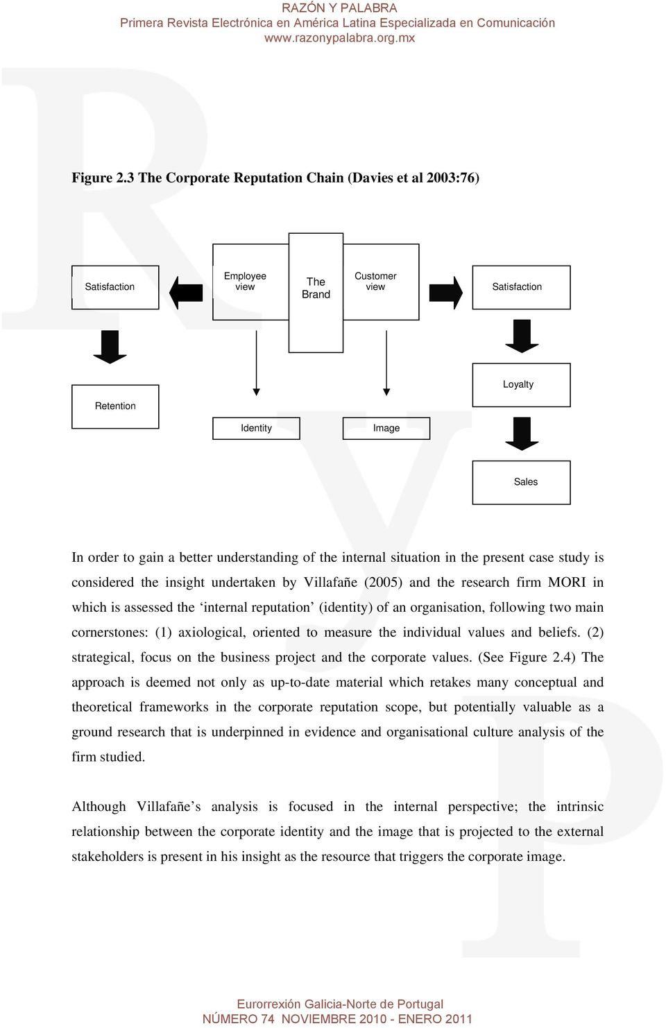 of the internal situation in the present case study is considered the insight undertaken by Villafañe (2005) and the research firm MORI in which is assessed the internal reputation (identity) of an