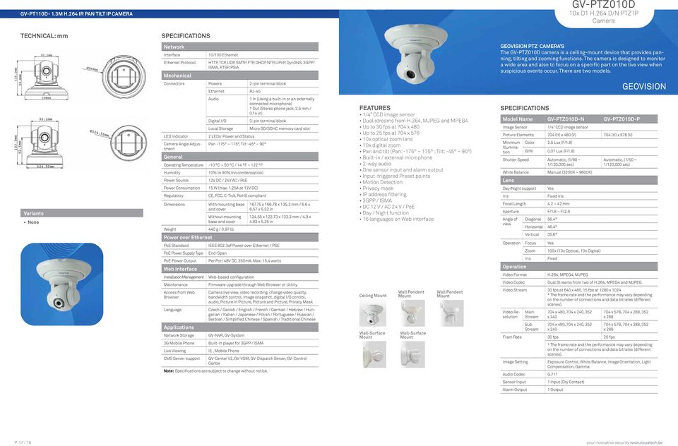 CAMERA S The GV-PTZ010D camera is a ceiling-mount device that provides panning, tilting and zooming functions.