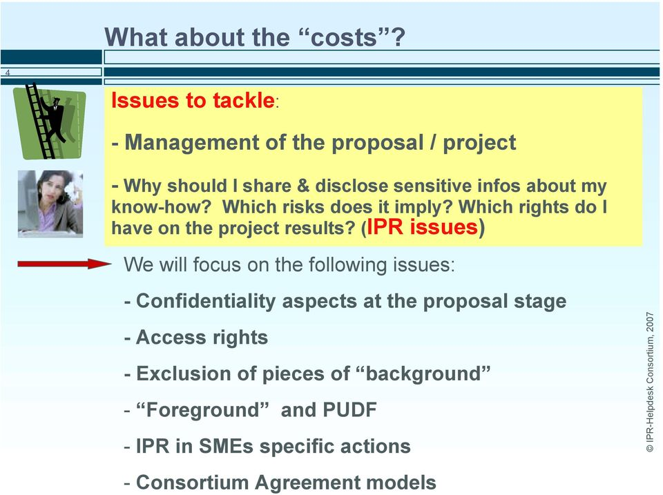 my know-how? Which risks does it imply? Which rights do I have on the project results?
