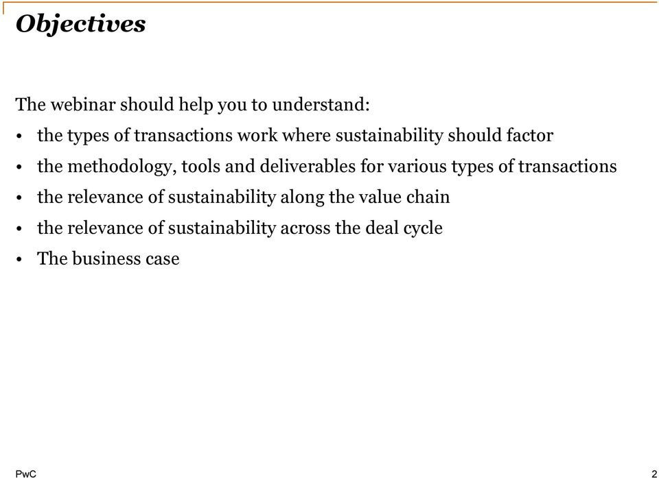 for various types of transactions the relevance of sustainability along the