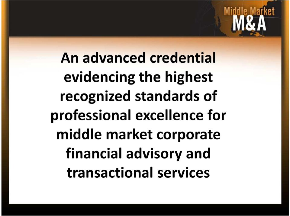 professional excellence for middle market