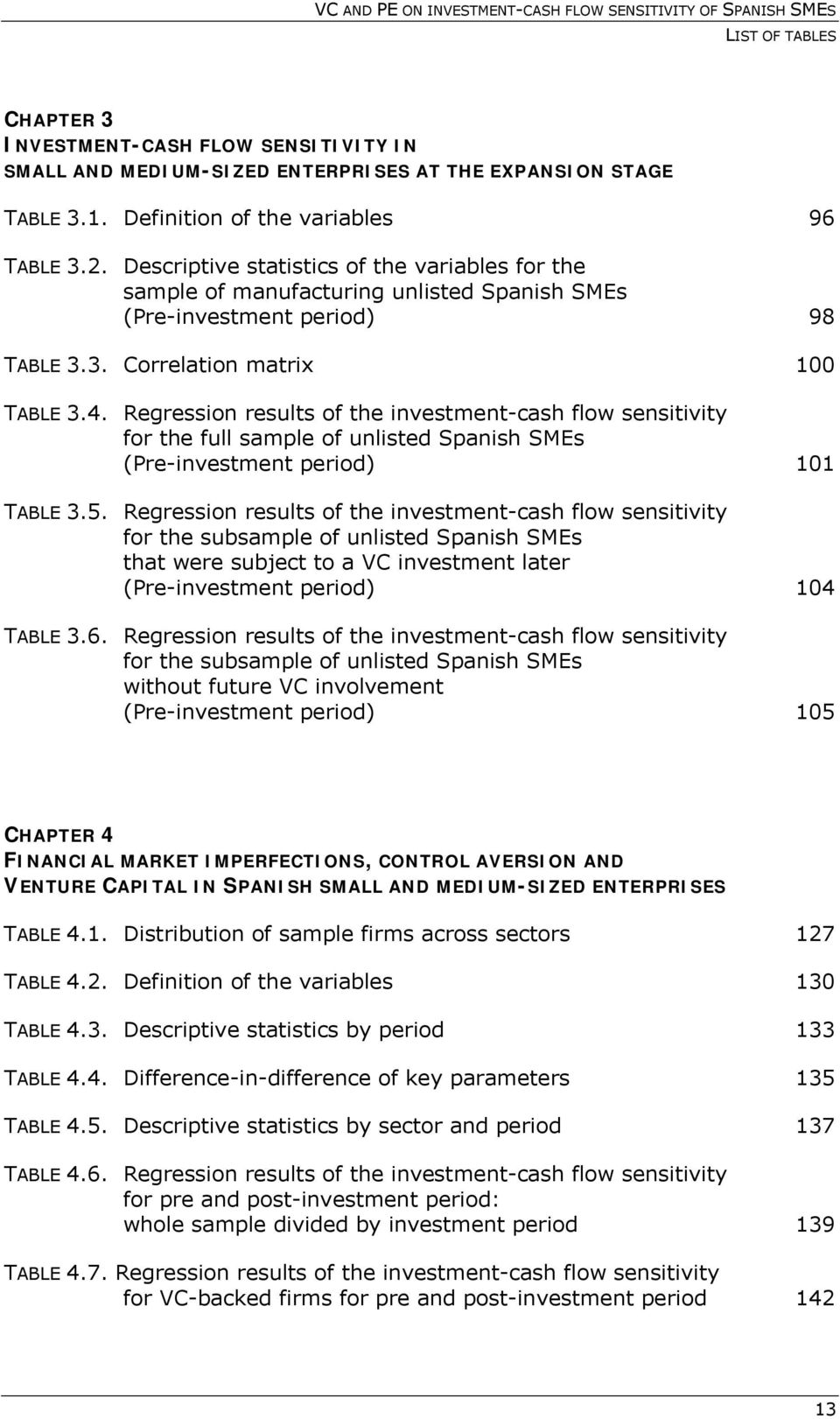 Regression results of the investment-cash flow sensitivity for the full sample of unlisted Spanish SMEs (Pre-investment period) 101 TABLE 3.5.