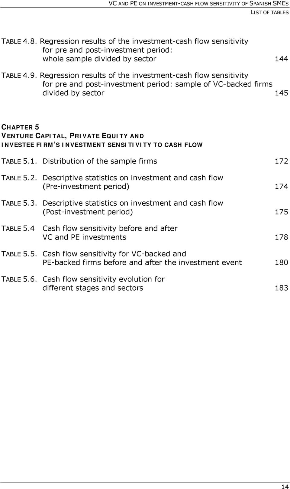 FIRM S INVESTMENT SENSITIVITY TO CASH FLOW TABLE 5.1. Distribution of the sample firms 172 TABLE 5.2. Descriptive statistics on investment and cash flow (Pre-investment period) 174 TABLE 5.3.