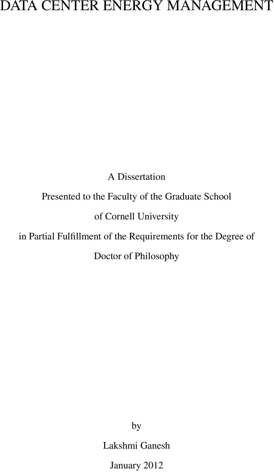 University in Partial Fulfillment of the Requirements
