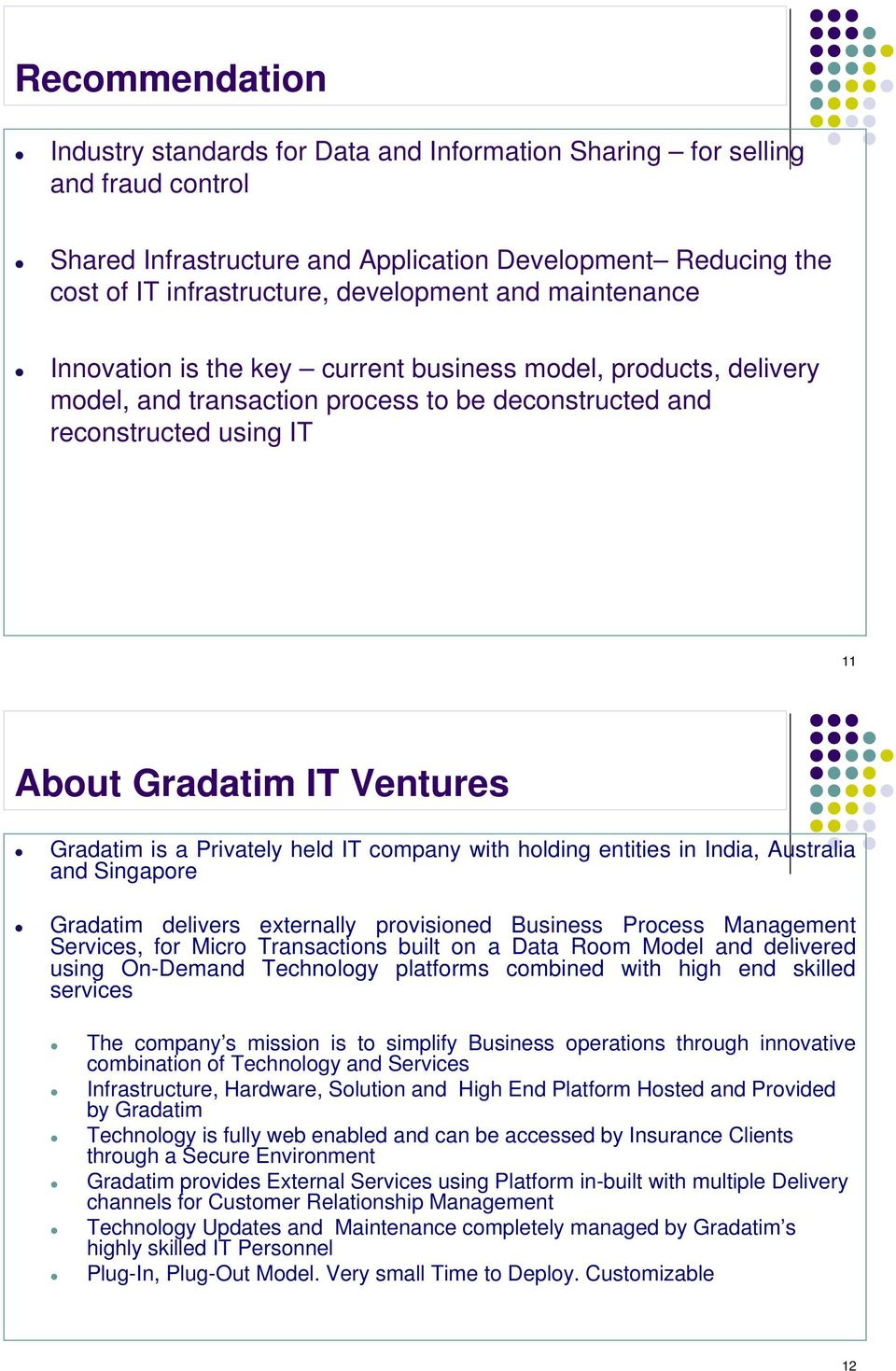 is a Privately held IT company with holding entities in India, Australia and Singapore Gradatim delivers externally provisioned Business Process Management Services, for Micro Transactions built on a