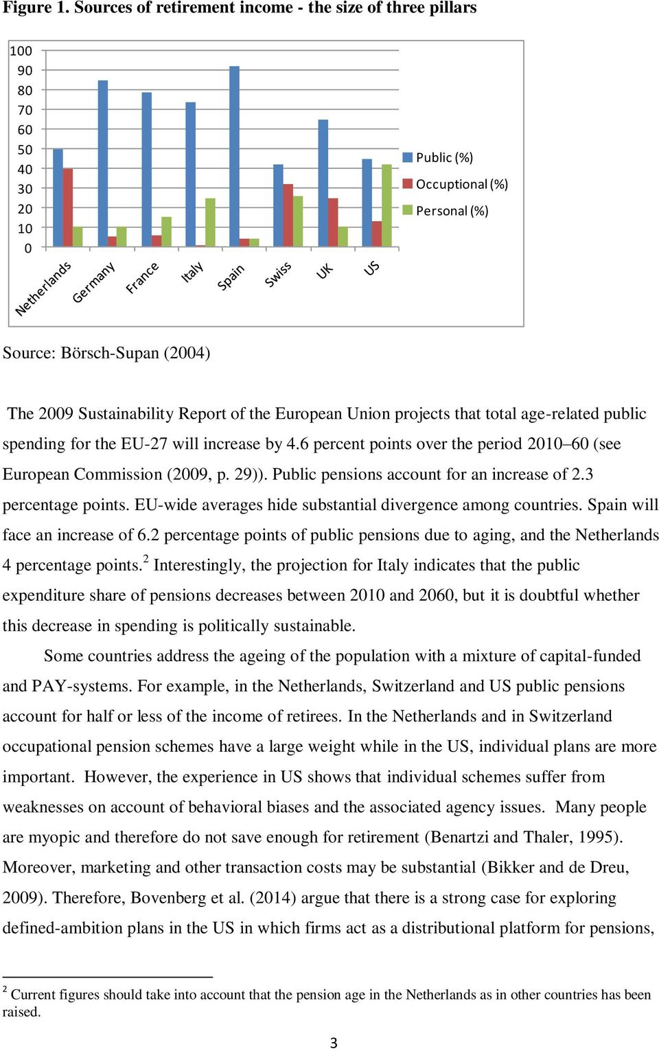 European Union projects that total age-related public spending for the EU-27 will increase by 4.6 percent points over the period 2010 60 (see European Commission (2009, p. 29)).