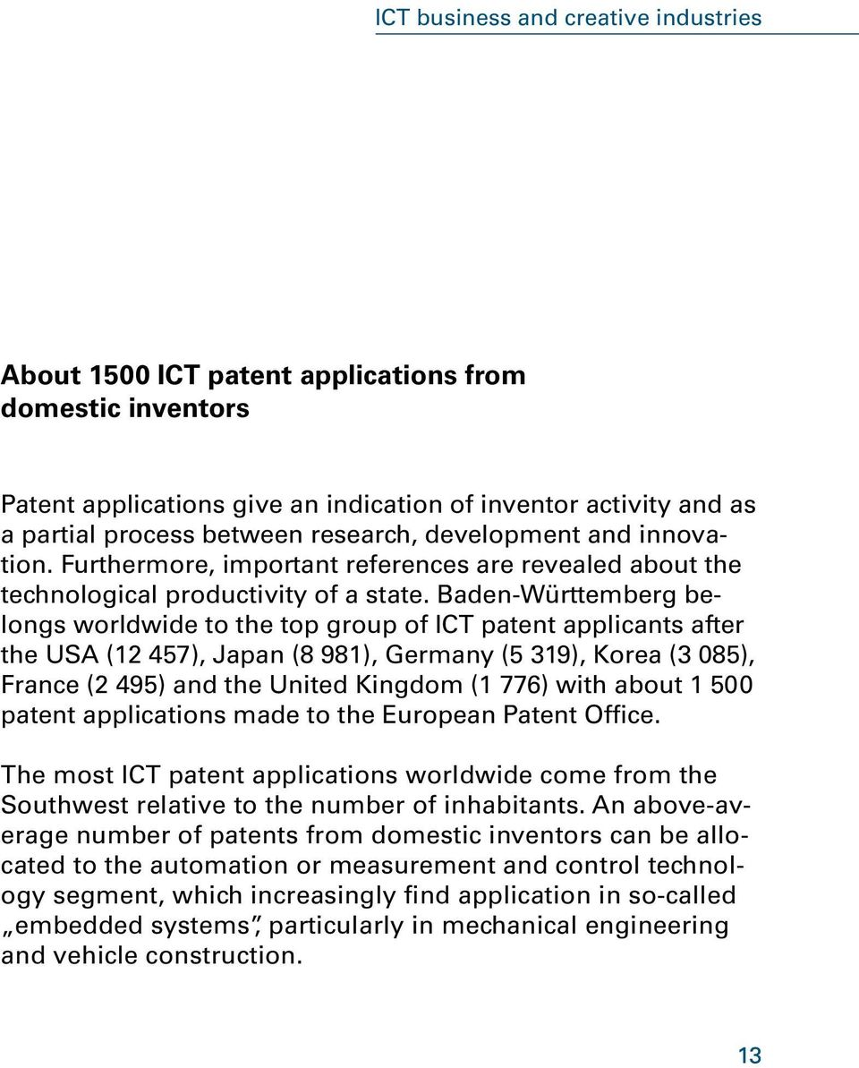 Baden-Württemberg belongs worldwide to the top group of ICT patent applicants after the USA (12 457), Japan (8 981), Germany (5 319), Korea (3 085), France (2 495) and the United Kingdom (1 776) with