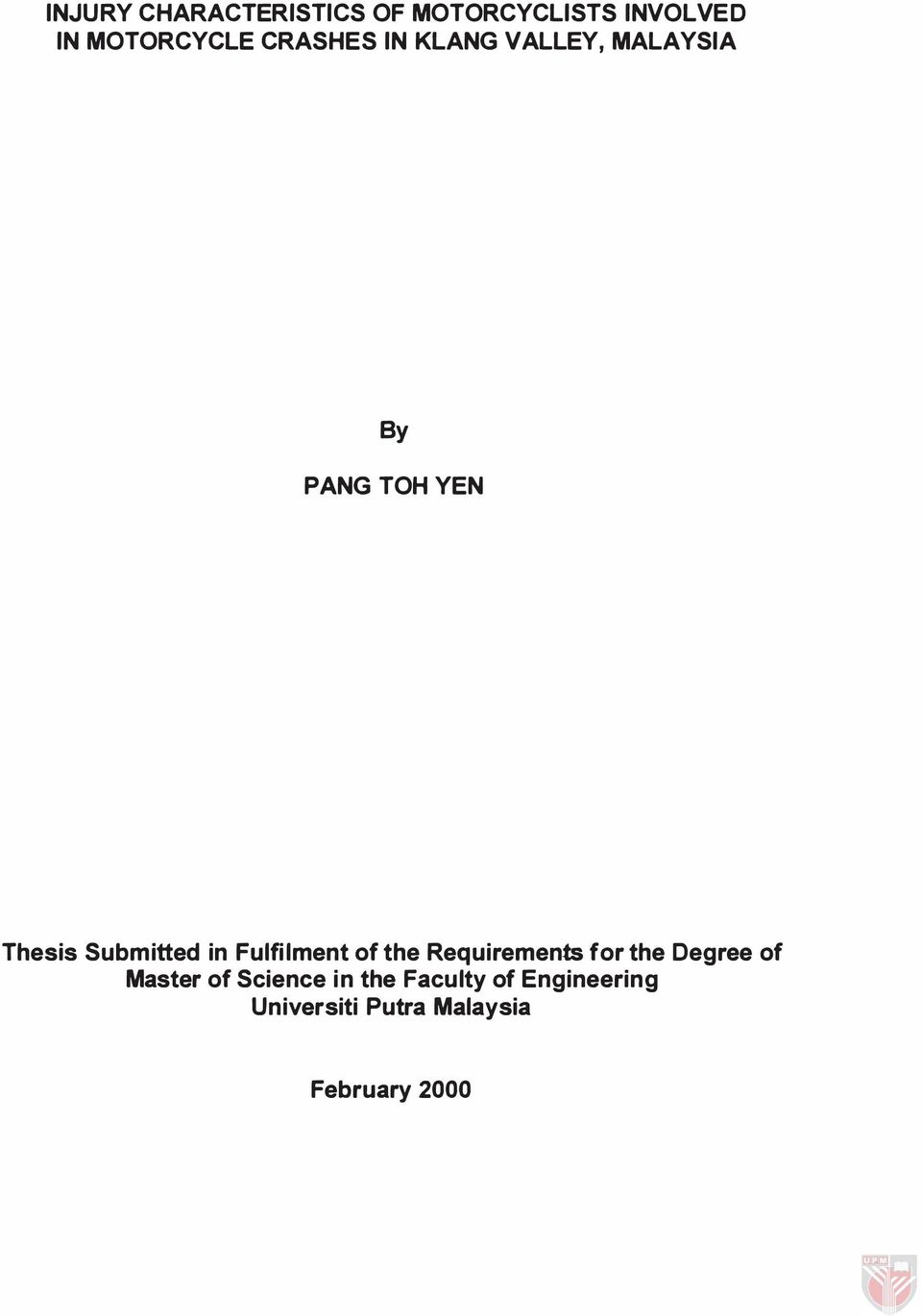 in Fulfilment of the Requirements for the Degree of Master of