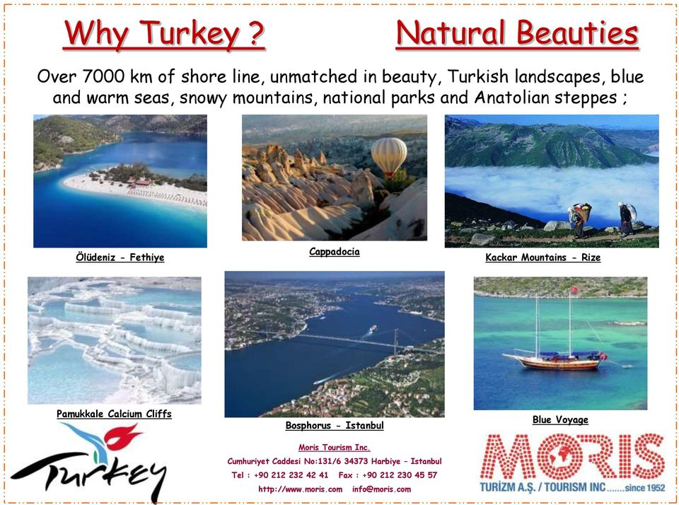 Turkish landscapes, blue and warm seas, snowy mountains, national parks