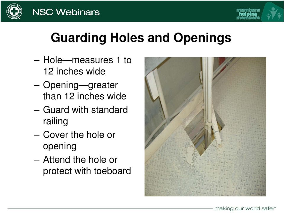 with standard railing Cover the hole or opening