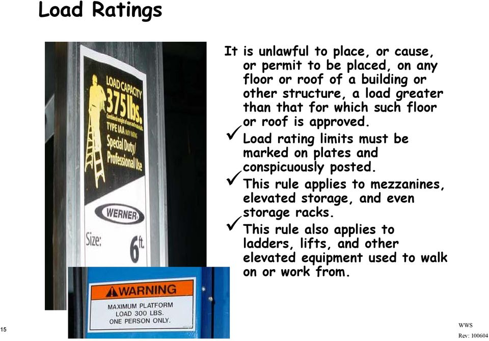 Load rating limits must be marked on plates and conspicuously posted.