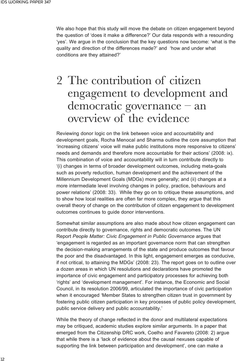 2 The contribution of citizen engagement to development and democratic governance an overview of the evidence Reviewing donor logic on the link between voice and accountability and development goals,